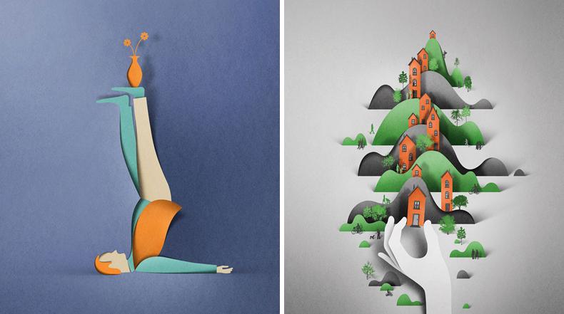 Ilustraciones de recorte de papel digital por Eiko Ojala