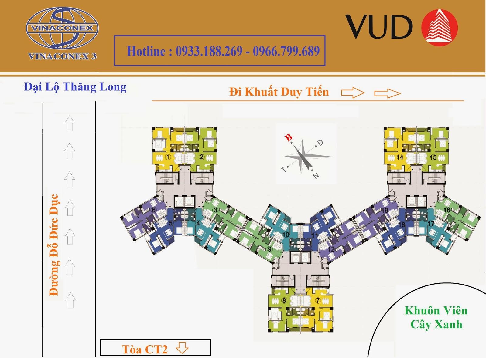 Chung cư CT1 Trung Văn - Vinaconex3, Mặt Bằng Tầng