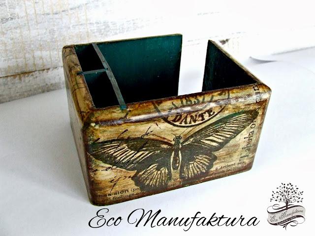 turkusowy pojemnik biurowy decoupage Eco Manufaktura
