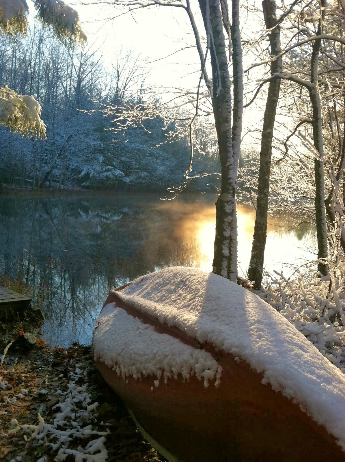 Frozen Canoe on Poplar Pond