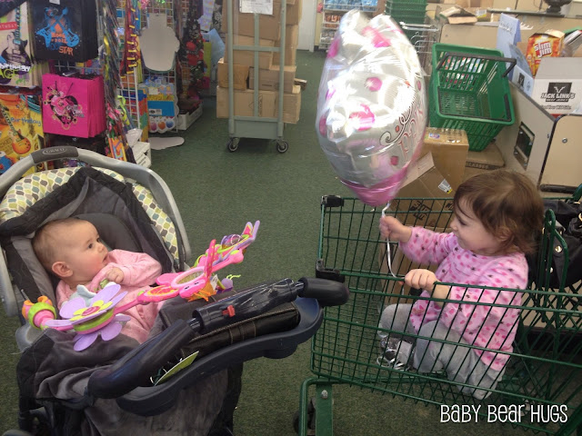 2 sisters one in a stroller and the other a shopping cart