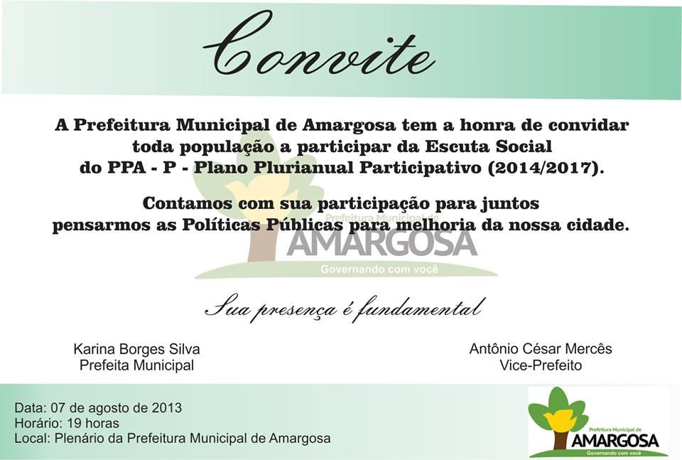 Prefeitura de Amargosa realizara Escuta Popular para o PPA Participativo.