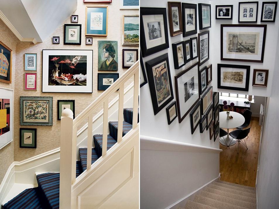 Cuadros para subida escaleras recibidores pequeos con - Cuadros para subida escaleras ...