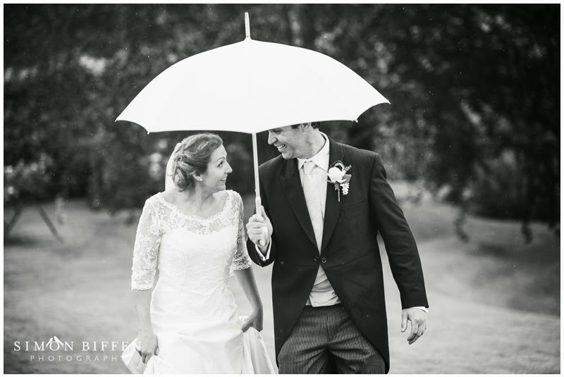 Wedding photography in the rain bride and groom