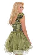 Este vestido sin tirantes cuenta con un corpiño ajustado con fruncido