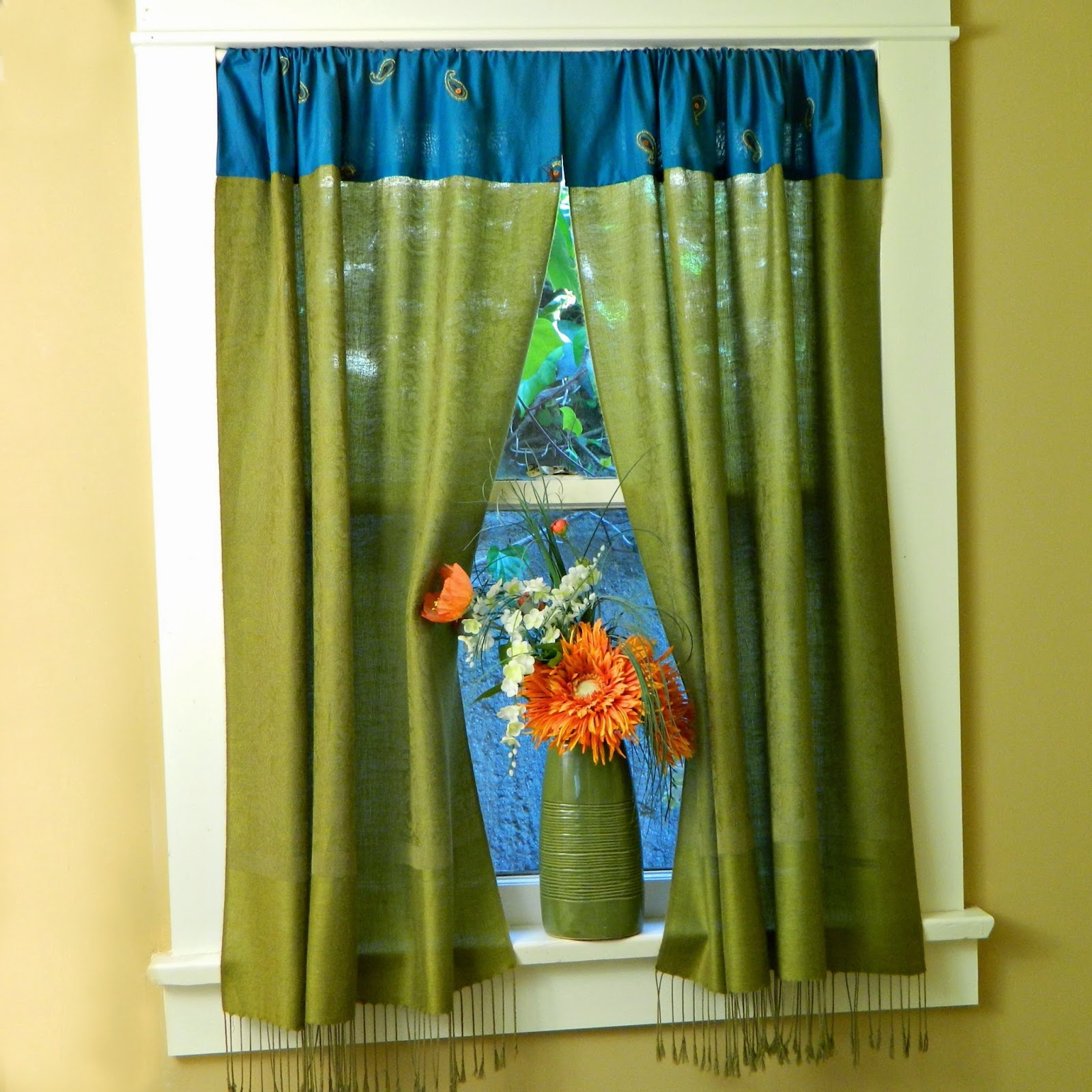 Boho window curtains - I Couldn T Decide On The Colors So I Made Them In Green And Teal