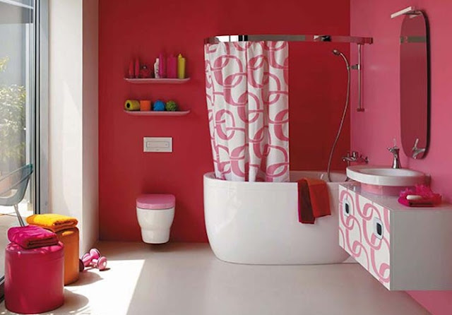 Decorating a pink tiled bathroom