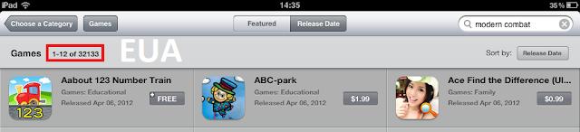 quantidade de jogos - app store americana