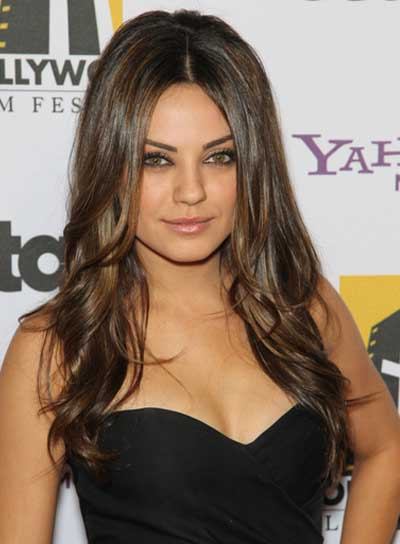 mila kunis long sophisticated brunette