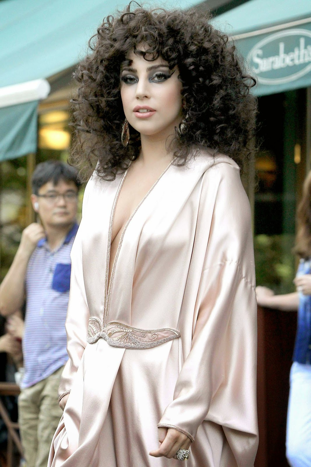 Lady Gaga out and about in New York in a silk pink robe