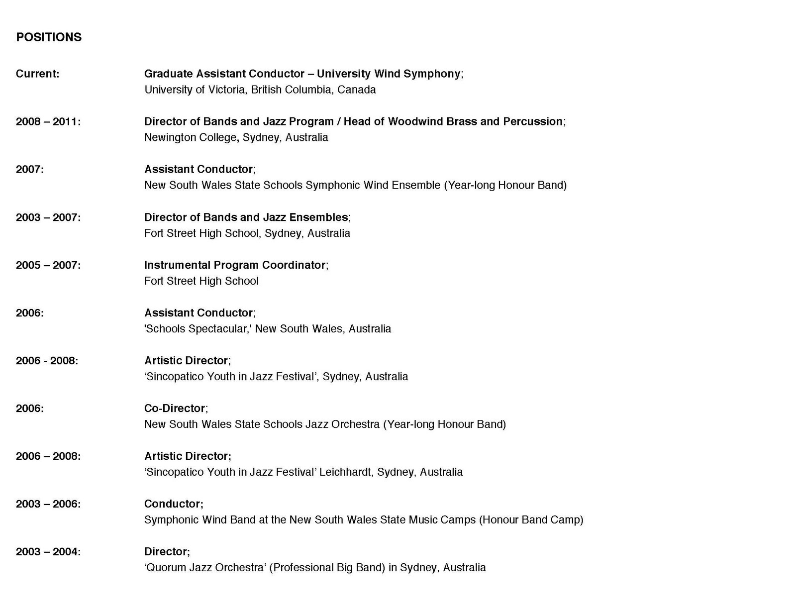 band nerd from oz  brief cv