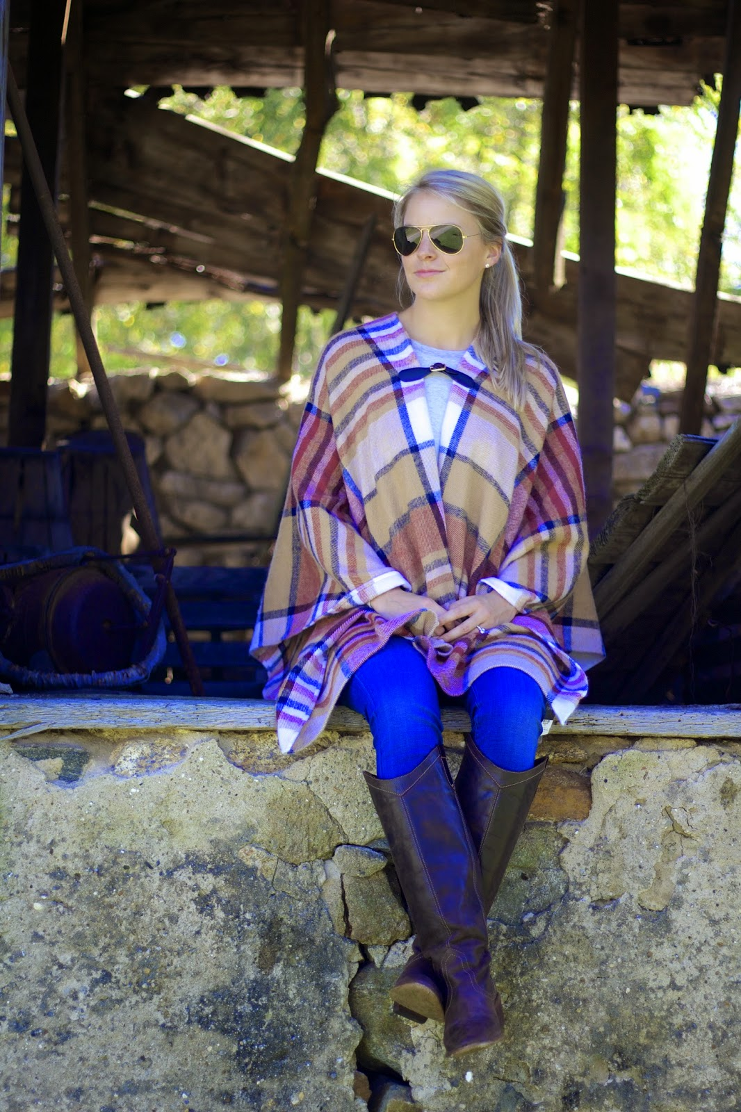 plaid cape, riding boots, fall fashion trends, tartan cape