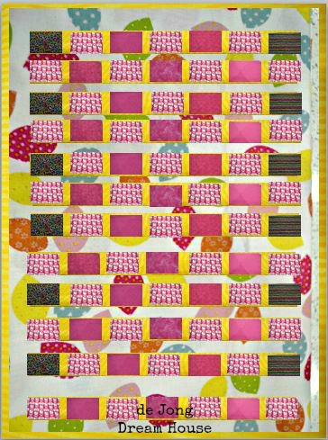 De jong dream house quilt 5 quilt along quilt complete and delivered for the back of the quilt i was planning to use one of the pinks until i found this hello kitty fabric shower curtain on clearance at target toneelgroepblik Image collections
