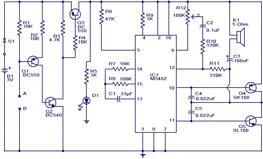 Water Sensor Alarm Circuit Using Ic M3482: Simple Puter Wiring Diagrams At Executivepassage.co
