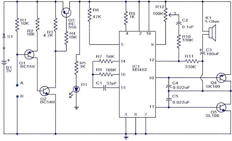 Water Sensor Alarm Circuit using IC M3482
