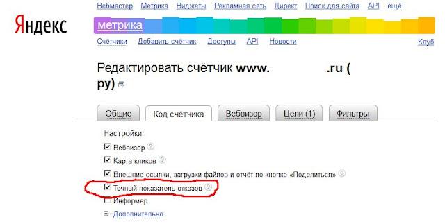 Отказы Яндекс.метрика