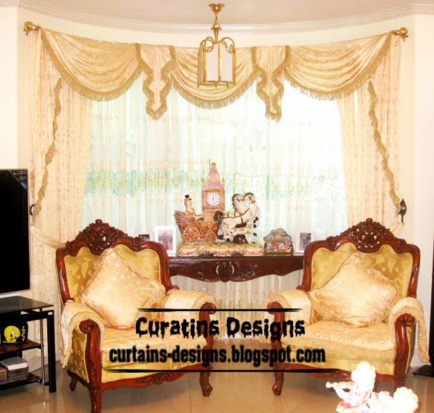 Luxury curved curtain design, Spanish living room curtain ...