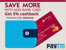 Paytm Wallet Offer - Add Min Rs 750 & Earn 5% Extra Cashback (Axis Bank users)