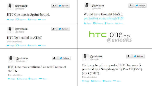 HTC One Max evleaks tweets