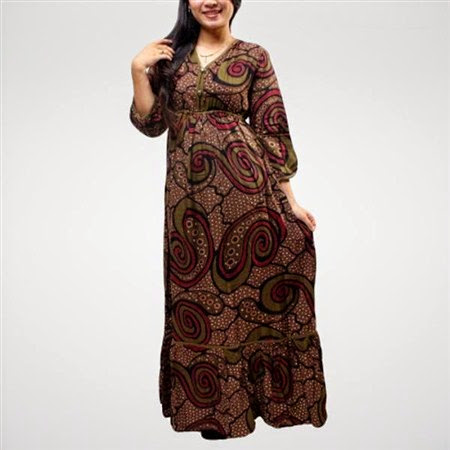 baju long dress motif batik terbaru 2017/2018