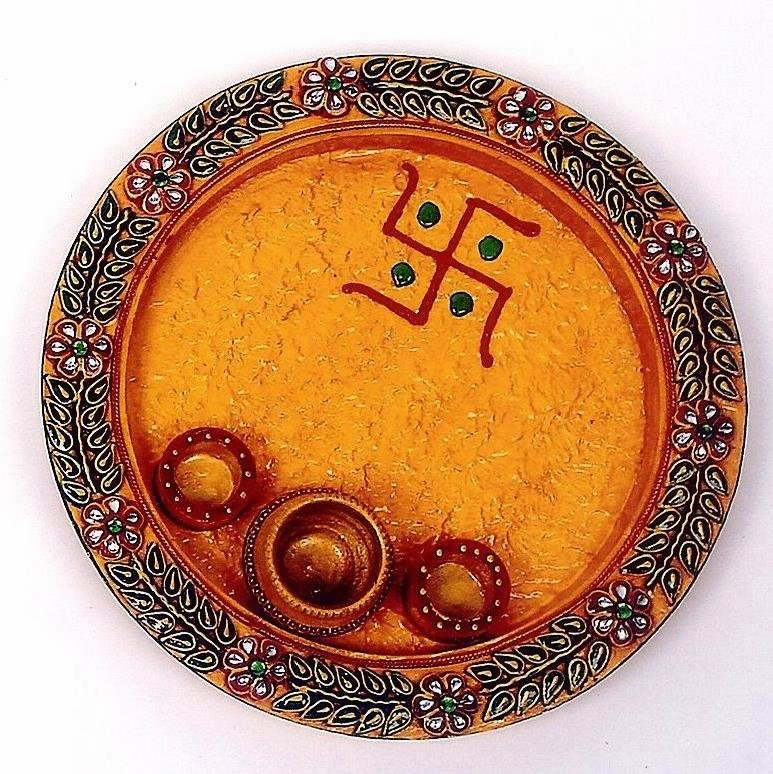 Desicollections decorated thali pooja plate junglespirit Choice Image
