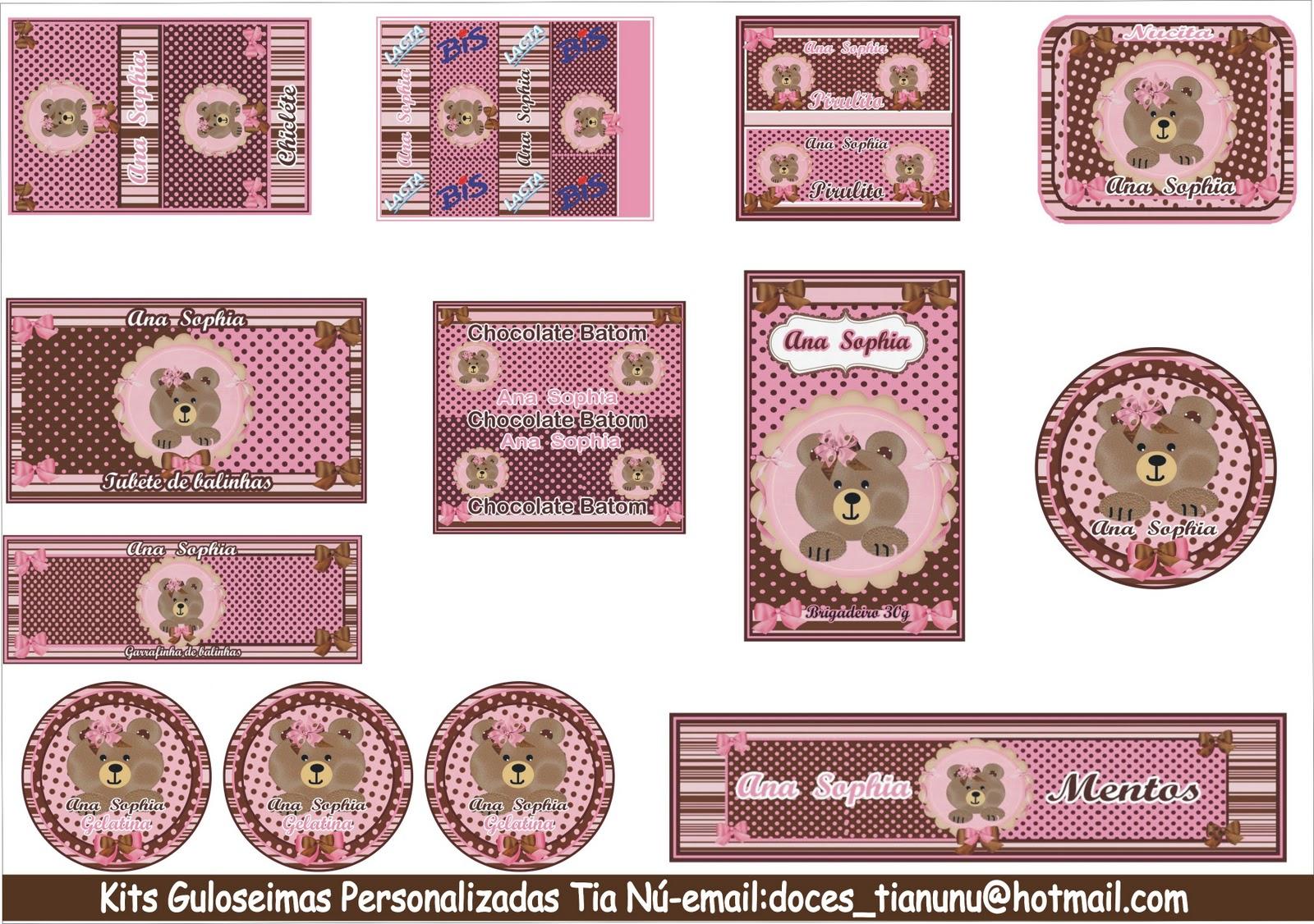 Kit Guloseimas Personalizados Ursinha marrom e rosa