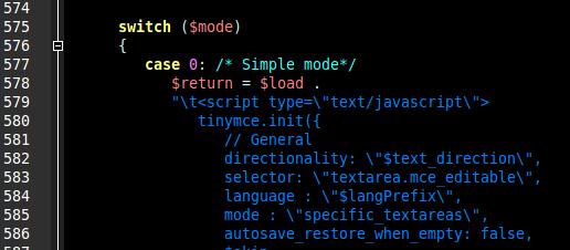 Joomla. Código inicializador de TinyMCE