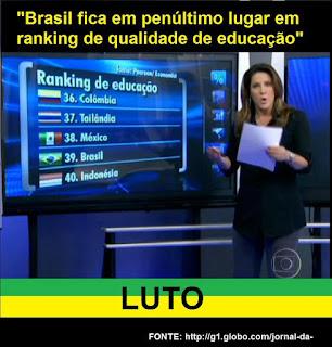 BRASIL EM PENÚLTIMO LUGAR NA QUALIDADE DA EDUCAÇÃO