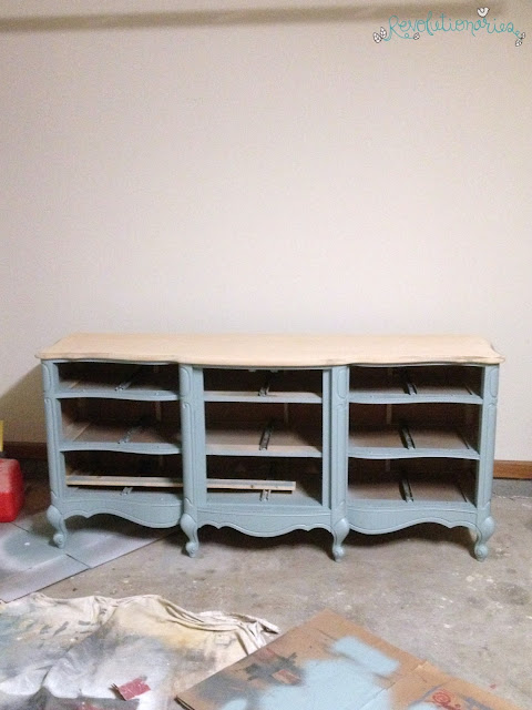 Before and After: The Two Tone Persian Blue Dresser!