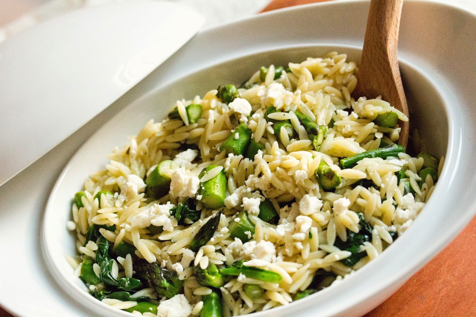 maede.for.you.: Lemon Orzo & Asparagus Salad with Spinach & Feta