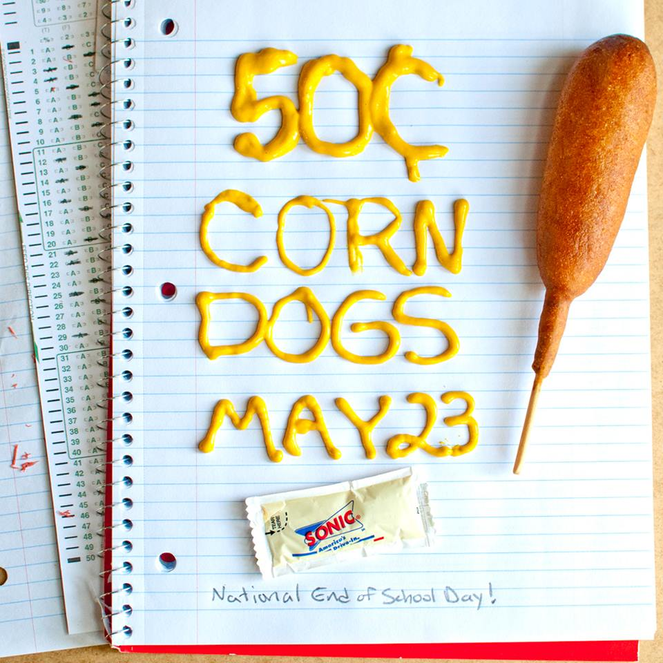 Sonic Drive Ins – $0.50 Corn Dogs Today Only