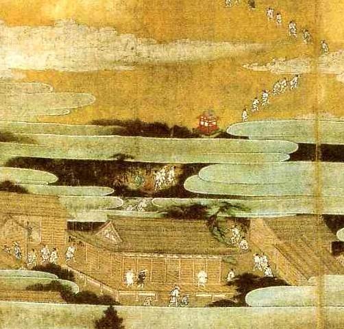 また上の図の左の4人は白装束であり、またそれより上はすべて白装束姿であ... 絹本著色富士曼荼羅