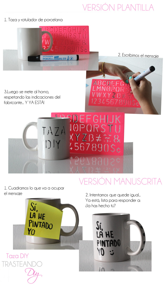 DIY CRAFT TAZA PINTADA A MANO ROTULAR