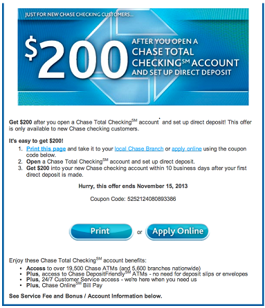Green Espirit Free Chase 150200 New Checking Account Bonus