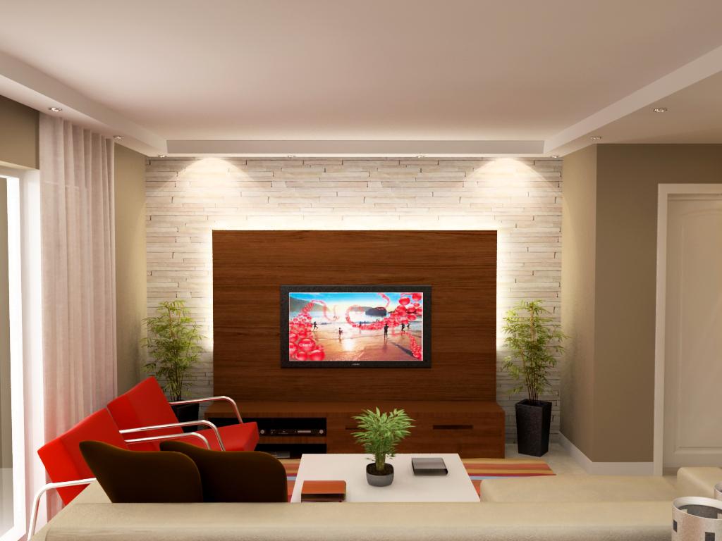 #B71F14 escritório na sala de estar pequenaIdéias de decoração para casa 1024x768 píxeis em Decoração De Sala Com Tv Lcd Na Parede