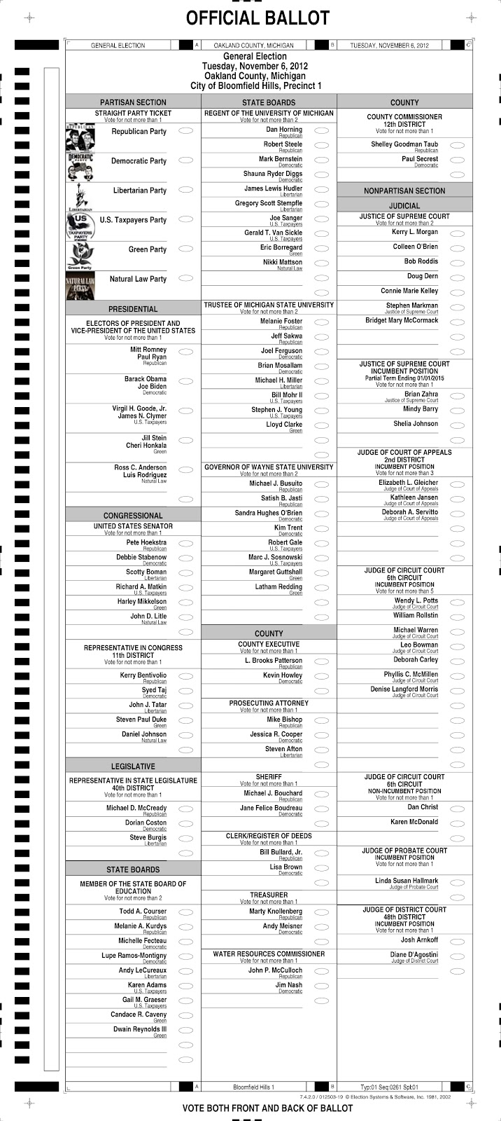 City of Bloomfield Hills: November 6th Election Sample Ballot for ...