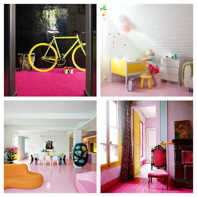 decoración suelos de color suelo rosa