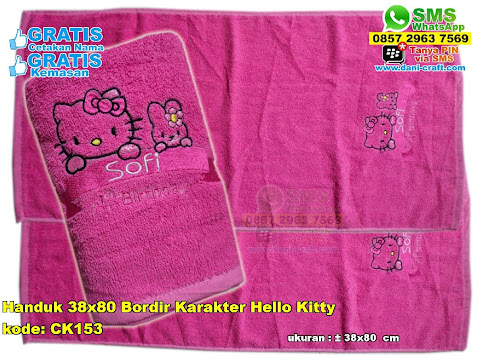 Handuk 38x80 Bordir Karakter Hello Kitty