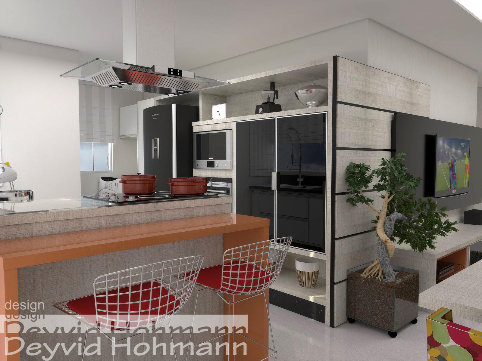 Deyvid Hohmann: Ambiente conjugado sala cozinha e lavanderia #6F3B2E 1600 1200