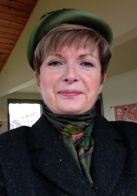 Max Mara tweed blazer, vintage silk scarf, vintage hat