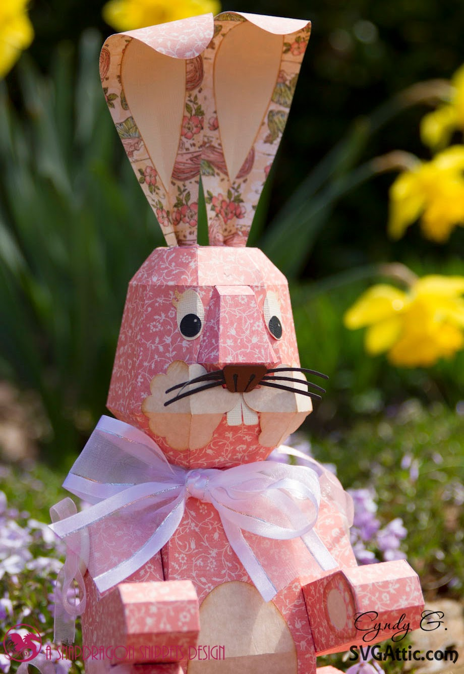 Close up of 3d Paper Bunny
