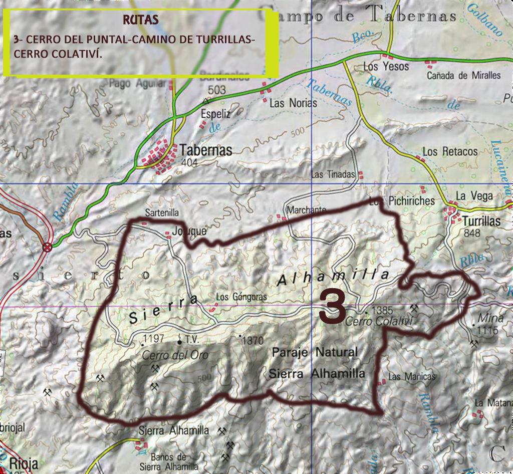 Rutas sobre mapa Alhamilla