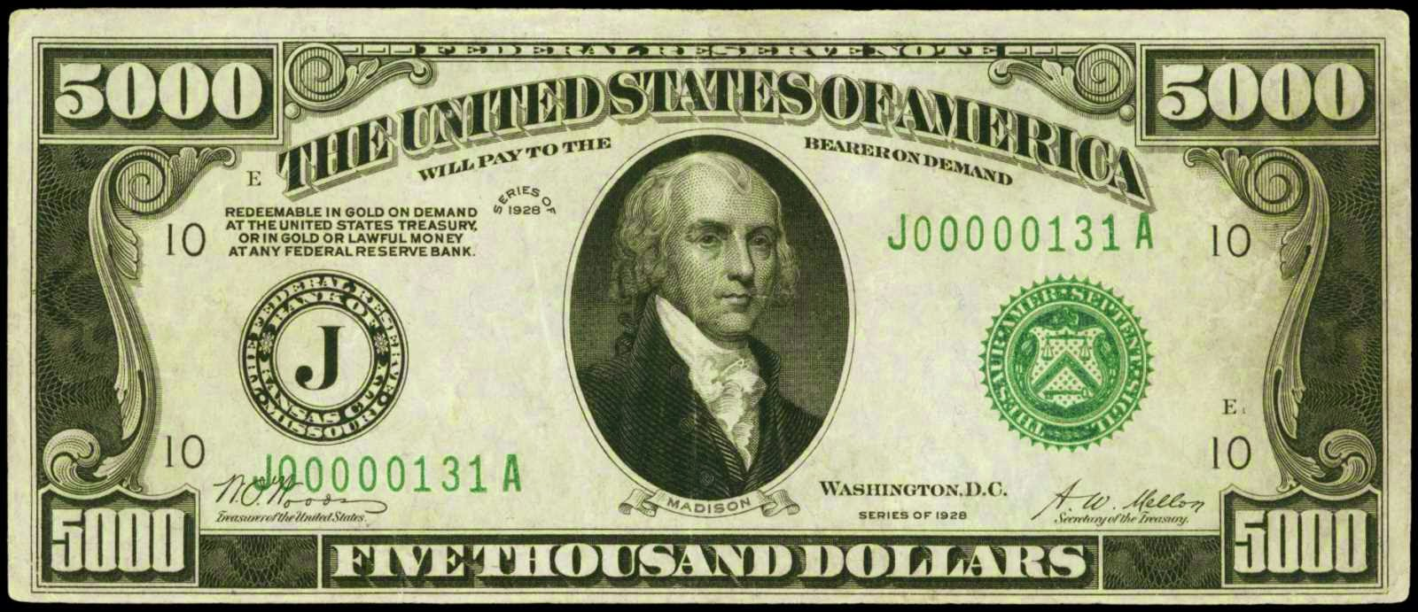 1928 Five Thousand Dollar Federal Reserve Note James Madison
