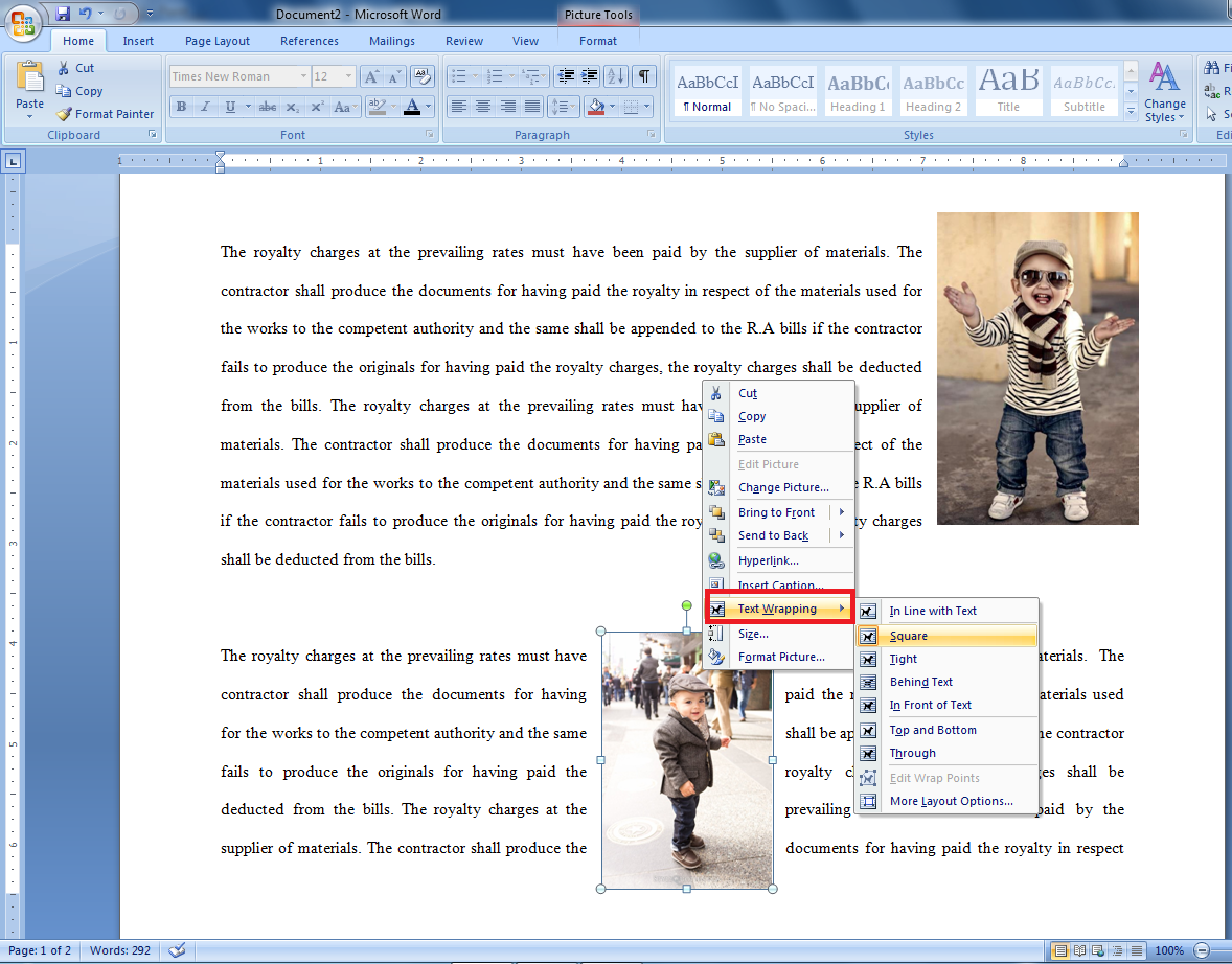 how to put text in front of picture in word