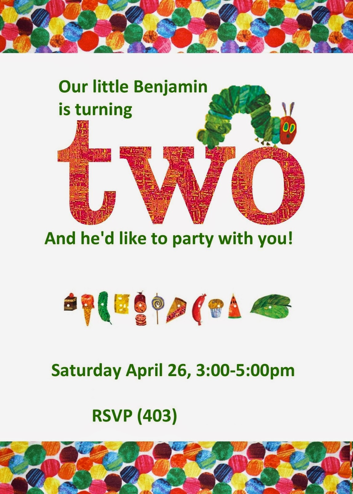 Embellished Paper: Benjamin\'s Very Hungry Caterpillar 2nd Birthday