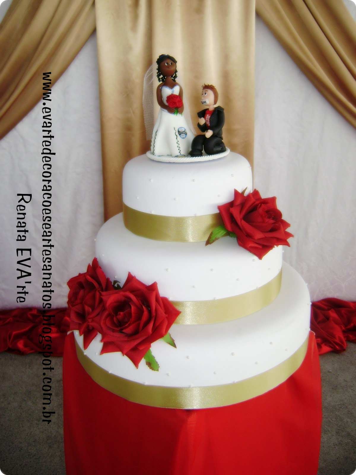 Criativa Festas e Eventos Casamento  Vermelho, Dourado e Branco
