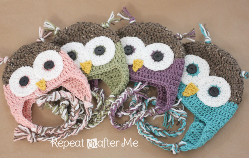 Crochet owl hat pattern in newborn adult sizes