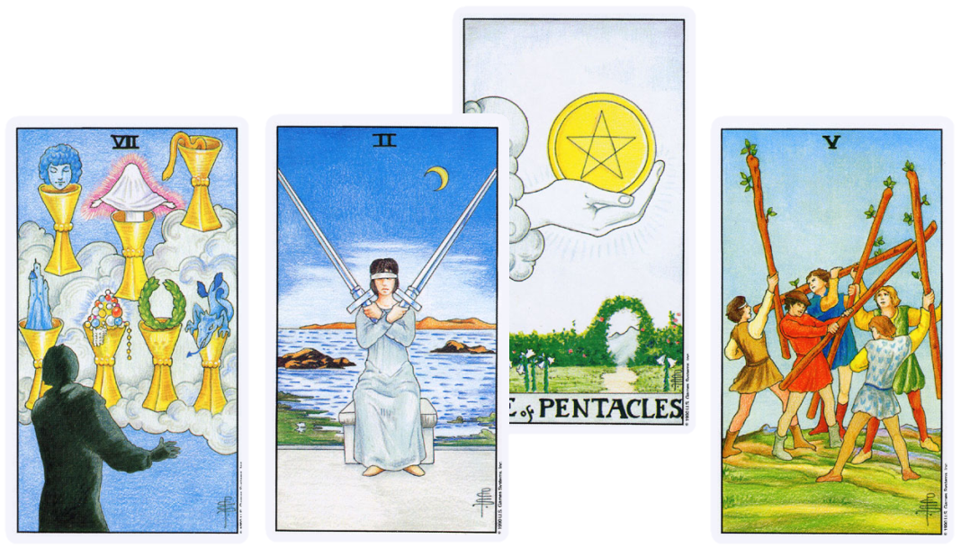 Universal Waite Tarot, Seven of Cups, two of Swords, Ace of Pentacles, Five of Wands
