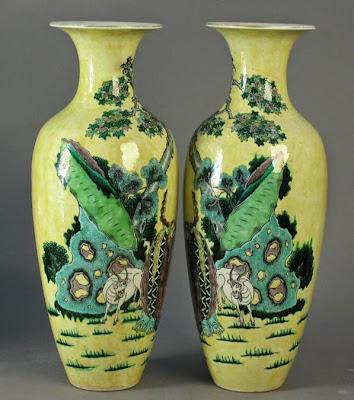 Famille Jaune famille vert vase