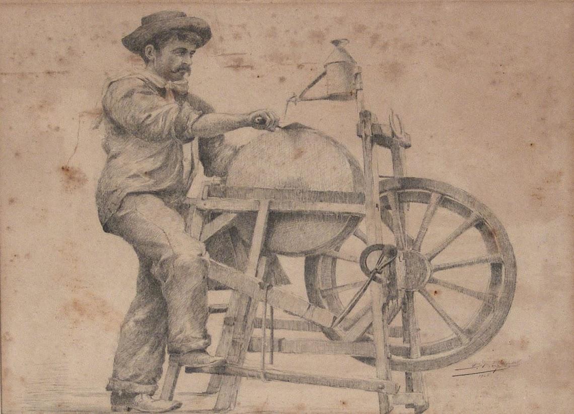 El afilador. B.Roig Mallol (Escuela española, siglo XIX-XX) Dibujo a la tinta
